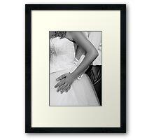 Bride and groom hugging together Framed Print