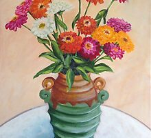 Zinnias in an Art Deco vase by John Klein