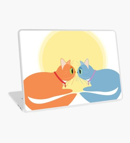 Two Cats And The Moon Laptop Skin
