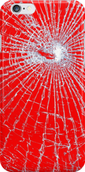 Broken Glass 2 iPhone Red by Brian Carson