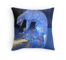 Icy blue snow leopard Throw Pillow
