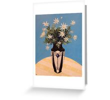 Flannel Flowers in a French Art Deco Vase Greeting Card