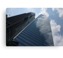 Sky and Sky - Toronto Skyscraper Reflecting Fluffy White Clouds Metal Print