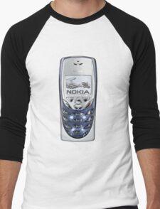 Awesome funny retro phone  Men's Baseball ¾ T-Shirt