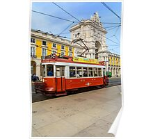 Old red tram at  triumphal arch on the Palace Square in Lisbon Poster