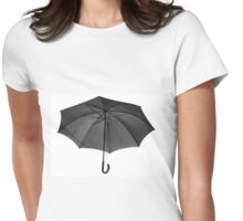 Bottom view at single open black umbrella Womens Fitted T-Shirt