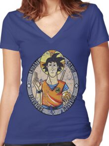 LAUDATE GOKUH Women's Fitted V-Neck T-Shirt