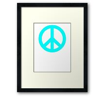 Cyan Peace Sign Symbol Framed Print
