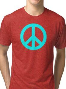 Cyan Peace Sign Symbol Tri-blend T-Shirt