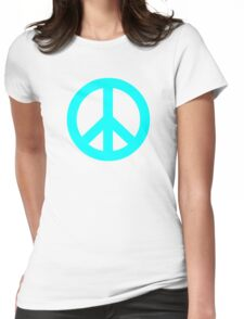 Cyan Peace Sign Symbol Womens Fitted T-Shirt