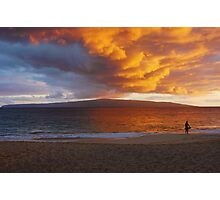 Lone Surfer At Sunset Photographic Print