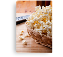 basket full of many crunchy popcorn Canvas Print