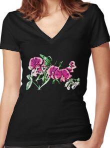 Floral Design (04) Women's Fitted V-Neck T-Shirt