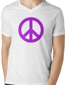 Purple Peace Sign Symbol Mens V-Neck T-Shirt