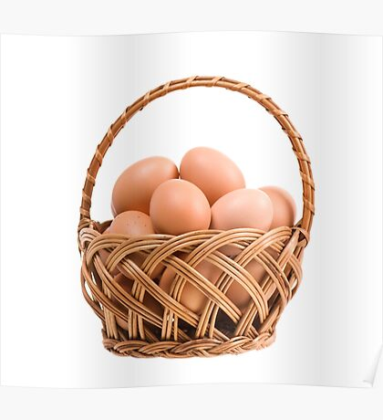 eggs in wicker basket  Poster