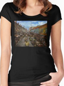 City - Baltimore MD - Traffic on light street - 1906 Women's Fitted Scoop T-Shirt