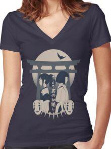 Spirited Away (blue) Women's Fitted V-Neck T-Shirt