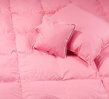 Cotton pink fluffy two pillows by Arletta Cwalina