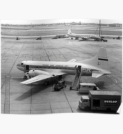 Convair Cv-240 SP-LPE of LOT at London Airport Poster