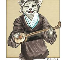 A Singing Cat Playing Samisen by felissimha