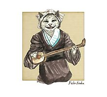 A Singing Cat Playing Samisen Photographic Print