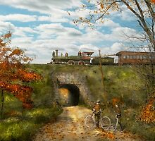 Train - Arlington, NJ - Enjoying the Autumn Day - 1890 by Mike  Savad