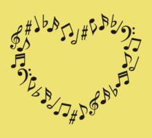 Music Notes Heart Kids Tee