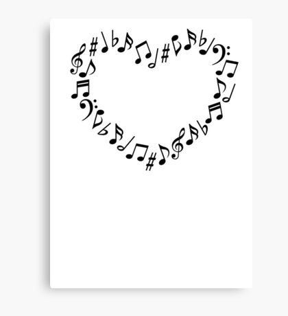Music Notes Heart Canvas Print