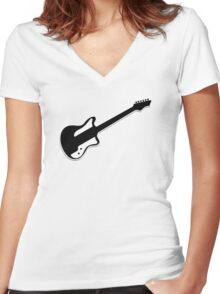 Electric Guitar Icon Symbol Women's Fitted V-Neck T-Shirt