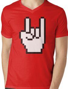 8 Bit Head Banger Symbol Mens V-Neck T-Shirt