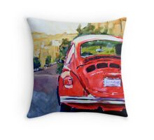 VW Bug in the City Throw Pillow