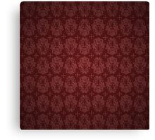 Red Faux Satin Gothic Damask Canvas Print