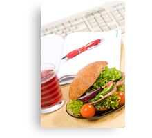 Sandwich with vegetables and juice  Canvas Print