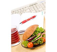Sandwich with vegetables and juice  Photographic Print