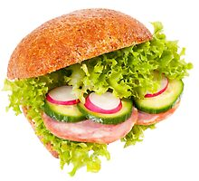 sandwich of graham roll with vegetables by Arletta Cwalina