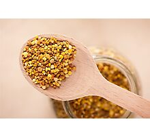pollen grains portion on wooden spoon Photographic Print