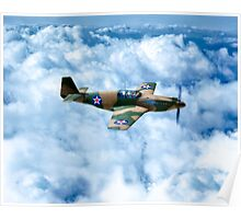 Vintage World War II Fighter Plane - P-51 Mustang Poster