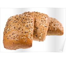 Fresh baked graham bread rolls Poster