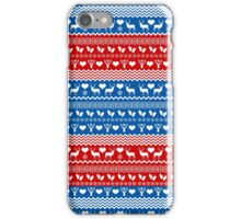 Red and Blue Christmas Sweater Reindeer iPhone Case/Skin
