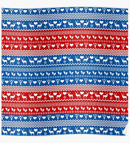 Red and Blue Christmas Sweater Reindeer Poster