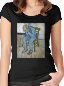 'At Eternity's Gate' by Vincent Van Gogh (Reproduction) Women's Fitted Scoop T-Shirt