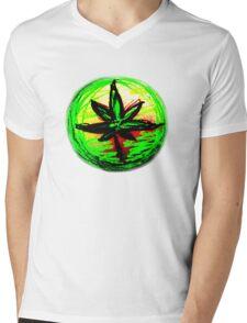 Rasta leaf T-shirt Mens V-Neck T-Shirt