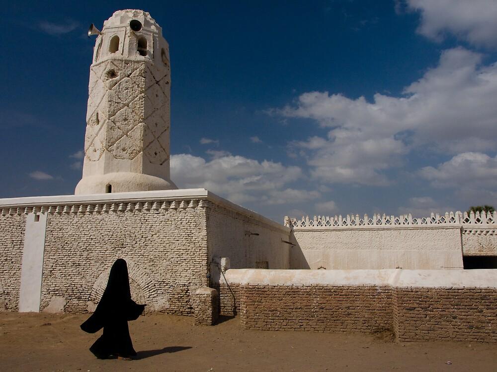 Yemeni woman passing a mosque - Yemen by Lisa Germany