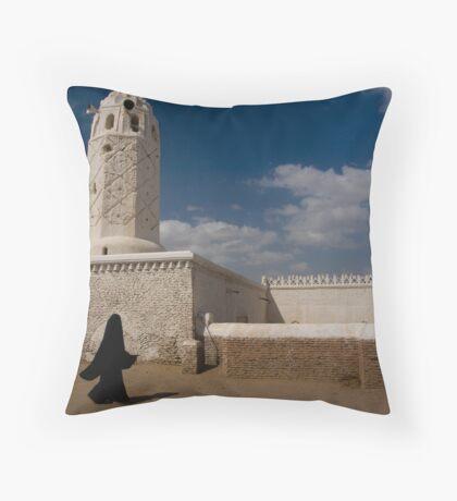 Yemeni woman passing a mosque - Yemen Throw Pillow