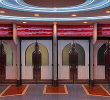 the entry doors of the Esquire Theatre, Sacramento California by Lenny La Rue, IPA
