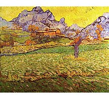 'A Meadow in the Mountains Le Mas de Saint Paul' by Vincent Van Gogh (Reproduction) Photographic Print