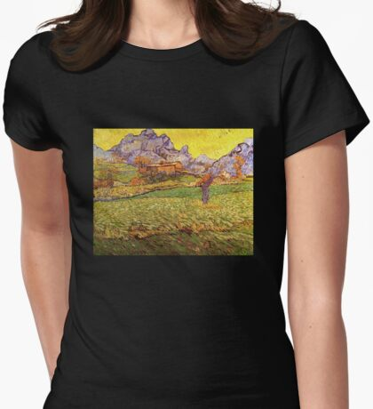 'A Meadow in the Mountains Le Mas de Saint Paul' by Vincent Van Gogh (Reproduction) Womens Fitted T-Shirt