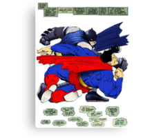 Batman punches Superman Canvas Print