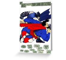 Batman punches Superman Greeting Card