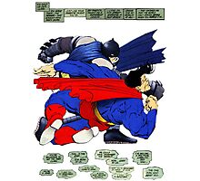 Batman punches Superman Photographic Print